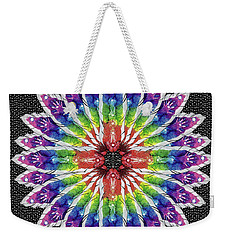 Weekender Tote Bag featuring the mixed media Hand Totem Mandala by Kym Nicolas