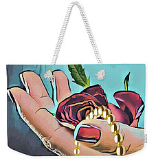 Hand With Red Rose And Pearls Weekender Tote Bag