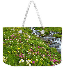 Weekender Tote Bag featuring the photograph Handie's Peak And Alpine Meadow by Cascade Colors