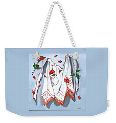 Weekender Tote Bag featuring the painting Handkerchief Apron by Susan Thomas