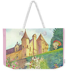 Weekender Tote Bag featuring the painting Handpainted Romantic Chateau Summer Garden by Judith Cheng