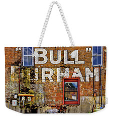 Weekender Tote Bag featuring the photograph Handpainted Sign On Brick Wall by David and Carol Kelly