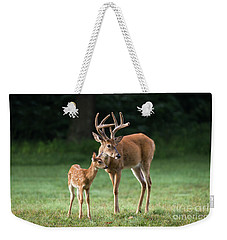 Weekender Tote Bag featuring the photograph Hands On Dad by Andrea Silies
