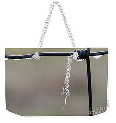 Weekender Tote Bag featuring the photograph Hanging By A Thread by Linda Lees
