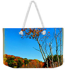 Weekender Tote Bag featuring the photograph Hanging On To Autumn by Joan  Minchak