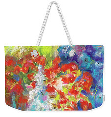 Weekender Tote Bag featuring the painting Hanging With The Delphiniums  by Frances Marino