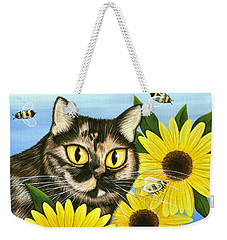 Hannah Tortoiseshell Cat Sunflowers Weekender Tote Bag
