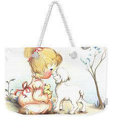 Weekender Tote Bag featuring the drawing Happiness by Sorin Apostolescu