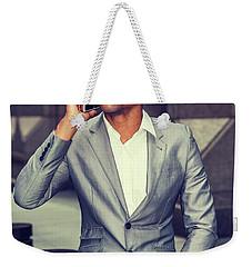 Happy African American Businessman Working In New York 15082323 Weekender Tote Bag
