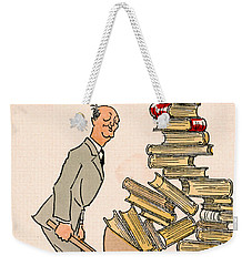 Weekender Tote Bag featuring the drawing Happy Bibliophile 1930 by Padre Art