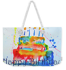 Weekender Tote Bag featuring the painting Happy Birthday Blue Cake  by Claire Bull