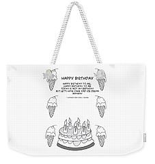 Weekender Tote Bag featuring the drawing Happy Birthday by John Haldane