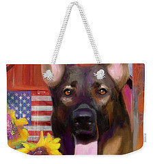 Happy Dog Weekender Tote Bag by Julianne Ososke