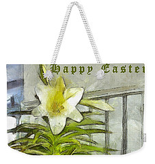Weekender Tote Bag featuring the photograph Happy Easter Lily by Claire Bull