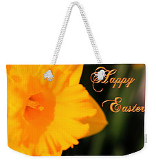 Weekender Tote Bag featuring the photograph Happy Easter Yellow Daffodil Spring Flowers by Shelley Neff
