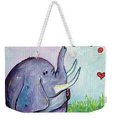Happy Elephant Weekender Tote Bag