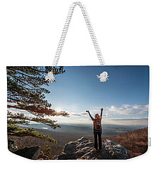 Happy Female Hiker At The Summit Of An Appalachian Mountain Weekender Tote Bag