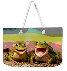 Weekender Tote Bag featuring the mixed media Happy Frog by Charles Shoup