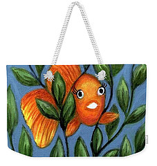 Weekender Tote Bag featuring the painting Happy Goldfish by Sandra Estes