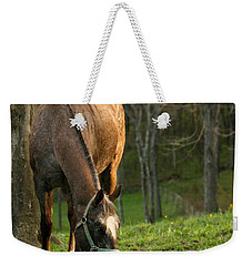 Weekender Tote Bag featuring the photograph Happy Grazing by Angela Rath