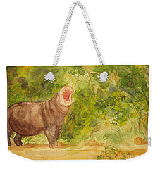 Weekender Tote Bag featuring the painting Happy Hippo by Vicki  Housel