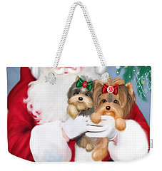 Weekender Tote Bag featuring the painting Happy Holidays by Catia Lee