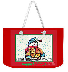 Happy Holidays Snowman Weekender Tote Bag