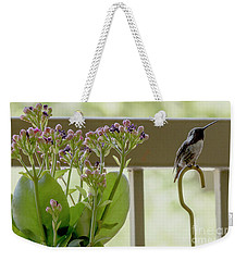 Weekender Tote Bag featuring the photograph Happy Hummer by Anne Rodkin