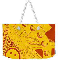 Weekender Tote Bag featuring the painting Happy by Maria Langgle