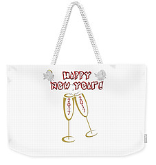 Weekender Tote Bag featuring the digital art Happy New Year 2017 by Judy Hall-Folde