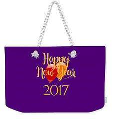 Weekender Tote Bag featuring the digital art Happy New Year 2017 With Balloons by Heidi Hermes