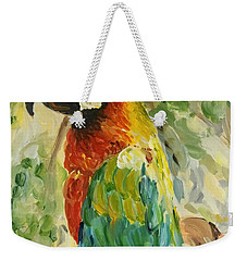 Weekender Tote Bag featuring the painting Happy Parrot by Maria Langgle