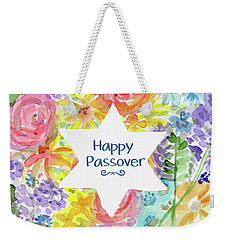 Weekender Tote Bag featuring the mixed media Happy Passover Floral- Art By Linda Woods by Linda Woods