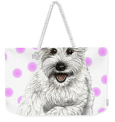 Weekender Tote Bag featuring the drawing Happy Pink Polka Dots Doggy  by Heidi Kriel