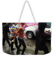 Weekender Tote Bag featuring the photograph Happy Songkran. The Water Splashing by Mr Photojimsf