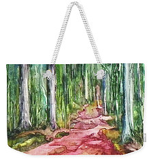 Weekender Tote Bag featuring the painting Happy Trail by Anna Ruzsan
