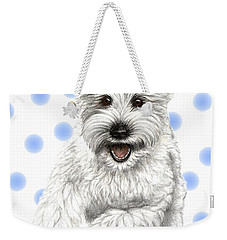 Weekender Tote Bag featuring the drawing Happy Blue Polka Dots Doggy by Heidi Kriel