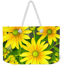 Happy Yellow Summer Cone Flowers In The Garden Weekender Tote Bag