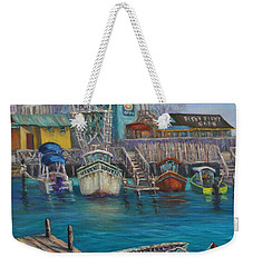 Harbor Boats Coastal Painting Of Southport North Carolina Weekender Tote Bag
