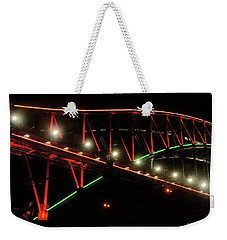 Weekender Tote Bag featuring the photograph Harbor Bridge Green And Red By Kaye Menner by Kaye Menner
