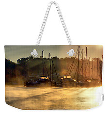 Weekender Tote Bag featuring the photograph Harbor Mist by Brian Wallace