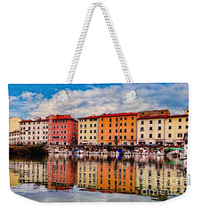 Harbor Reflections In Panoramic Weekender Tote Bag by Sue Melvin