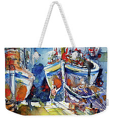 Harbor With Cats Weekender Tote Bag by Kovacs Anna Brigitta