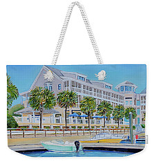 Weekender Tote Bag featuring the painting Harborside Marina by Shelia Kempf