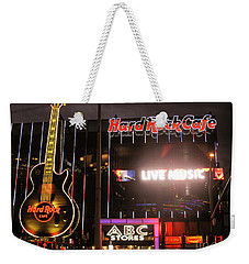 Hard Rock Cafe Las Vegas Strip At Night Weekender Tote Bag by RicardMN Photography