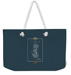 Weekender Tote Bag featuring the digital art Harley-davidson 1924 Vintage Patent Blueprint With 3d Badge by Serge Averbukh
