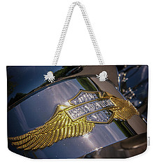 Weekender Tote Bag featuring the photograph Harley Davidson Badge by Samuel M Purvis III