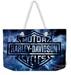 Harley Davidson Logo Blue Weekender Tote Bag by Randy Steele