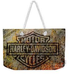 Harley Davidson Logo Grunge Metal Weekender Tote Bag by Randy Steele