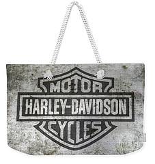 Harley Davidson Logo On Metal Weekender Tote Bag by Randy Steele